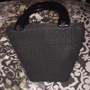 Talbots wooden handle woven handbag